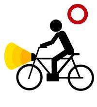 夜に自転車に乗るときには、必ずライトを付けること。