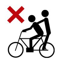 自転車の2人乗りは禁止されています。